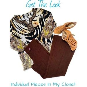 Other - MJ Collection Animal Print Top & Brown Slacks